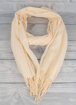 Демисезонный тонкий кашемировый шарф, палантин ozsoy 7180-28 кремовый, турция