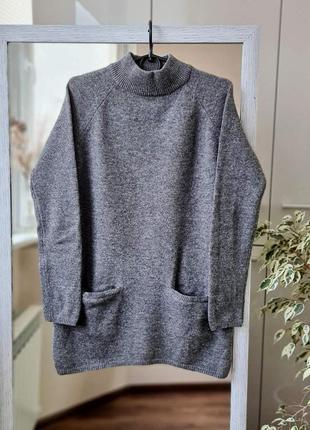 Теплый шерстяной кашемировый удлиненный свитер шерсть кашемир 🌺