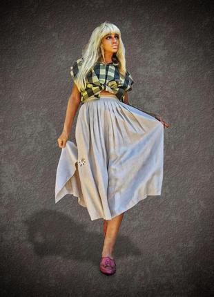 Льняная винтажная юбка миди складки в этно бохо баварский стиль с вышивкой