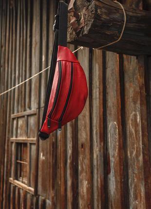 Бананка из натуральной кожи красная сумка на пояс или плече кросбоди слинг кожа б01