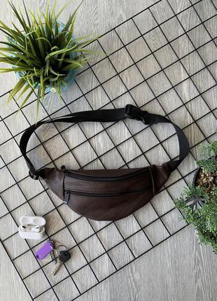 Бананка из натуральной кожи коричневая сумка на пояс или плече кросбоди слинг кожа б03