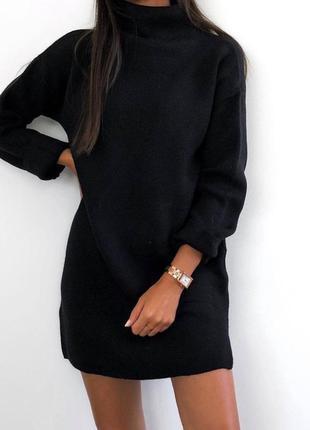 Платье туника на флисе черная