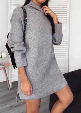 Платье туника на флисе серый