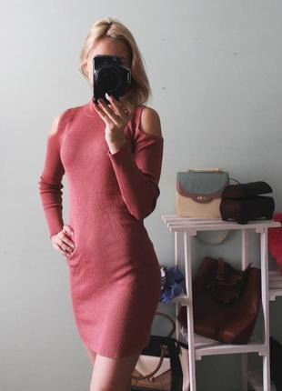 Платье миди по фигуре в рубчик с открытыми плечами  atmosphere