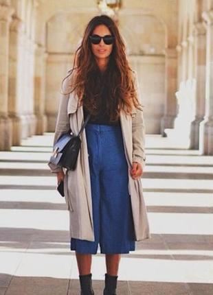 Джинсовые кюлоты zara. трендовые синие кюлоты джинсы zara.