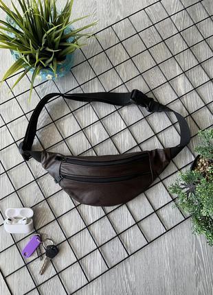 Бананка из натуральной кожи коричневая сумка на пояс или плече кросбоди слинг кожа б11