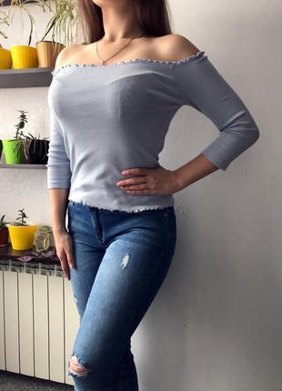 Шикарна блузка з відкритими плечима/в рубчик/2021