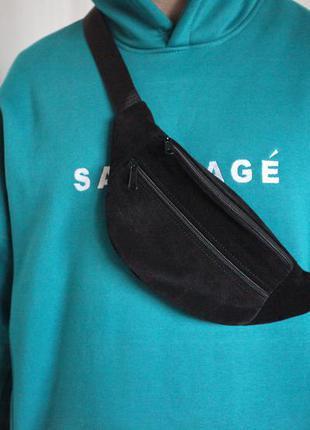 Бананка из натуральной замши черная сумка на пояс или плече кросбоди слинг кожа б16