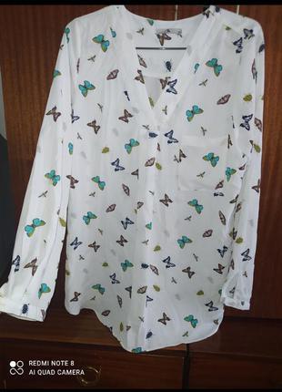 Стильная шифоновая блуза   size 10 марка tu