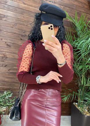 Женский свитер с шифоновым рукавом 42-48р