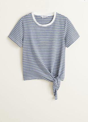 Полосатая футболка, футболка из органического хлопка с узлом.