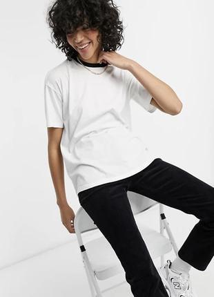 Белая свободная футболка с окантовкой asos design, біла базова футболка.
