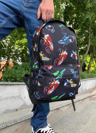Школьный рюкзак, вместительный для учебы с принтом кроссовок, качественный портфель подростку