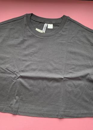 Укорочена футболка-топ оверсайз трендова, стильна сіра футболка.