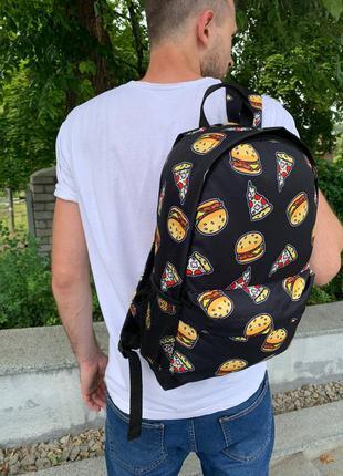 Школьный рюкзак, вместительный для учебы с принтом бургер, качественный портфель подростку