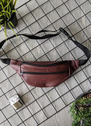 Бананка из натуральной замши фиолетовая сумка на пояс или плече кросбоди слинг кожа б36