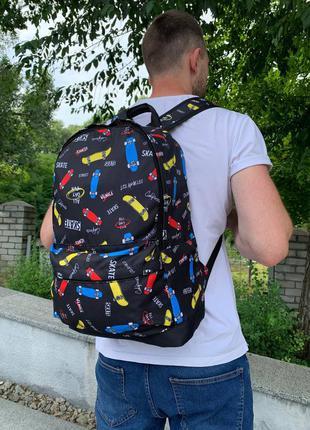 Школьный рюкзак, вместительный для учебы с принтом скейт, качественный портфель подростку