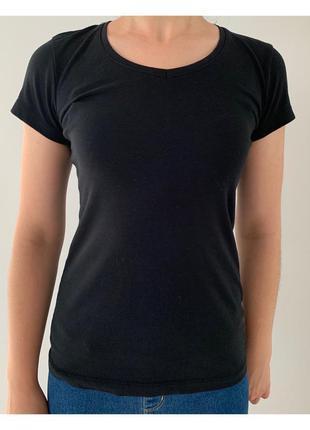 Футболка черная, базовая футболка стильная atmosphere.