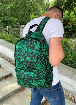 Школьный рюкзак, вместительный для учебы с принтом конопля, качественный портфель подростку