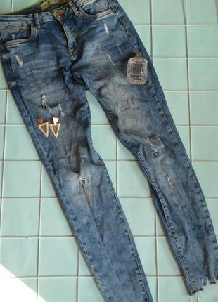 Синие джинсы скинни размер s, m бренд denim co