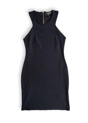 Чёрное облегающие фактурное платье от topshop размер 38