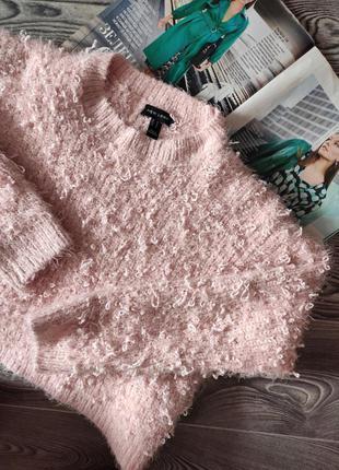 Свитер джемпер пуловер зефирный розовый укороченный в стиле оверсайз теплый плотный new look l