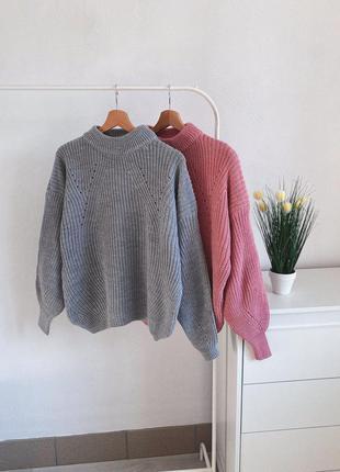 Новый базовый вязаный свитер оверсайз