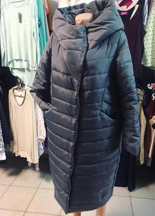 Зимнее серое пальто
