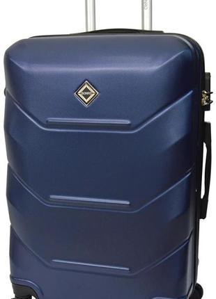 Чемодан пластиковый маленький на 4 колёсах bonro 147 s (темно-синий / blue)