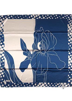 Шелковый платок шелк бежевый синий ирис ручной роуль новый качественный