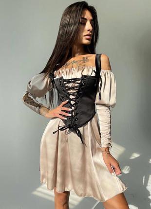 Шелковое платье + корсет (все расцветки)