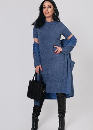 Женский ангоровый костюм платье и кардиган