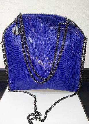 Stella mccartney брендовая стильная сумка шопер под рептилию