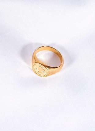 Золотистое кольцо печатка, женское крупное кольцо, трендовое кольцо