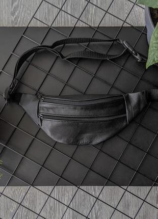 Бананка из натуральной кожи черная сумка на пояс или плече кросбоди слинг кожа б20