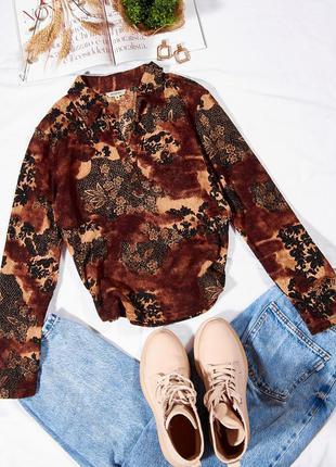 Коричневая блузка кружевная, элегантная блузка с кружевом, строгая блузка