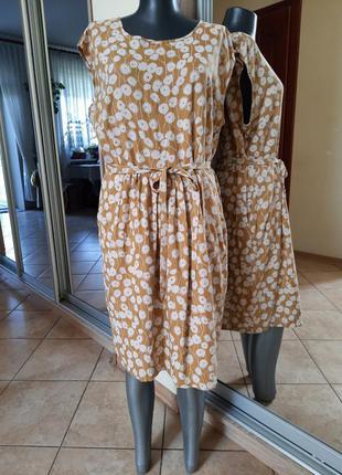 Вискозное с карманами и поясом платье 👗большого размера