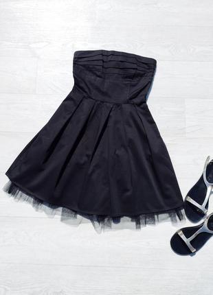 Чёрное котоновое платье бюстье с фатином vero moda