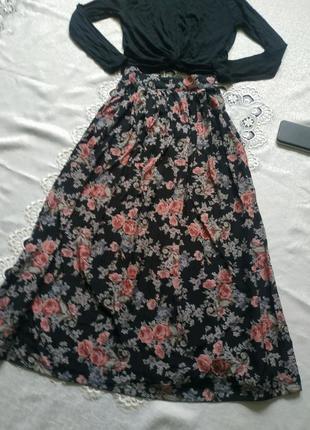 Трендовая юбка миди в цветочный принт