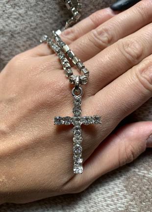 Новинка ожерелье колье цепочка с кулоном крестик и кристаллами