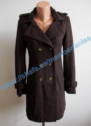 Sale -50%! шерстяное темно-коричневое пальто-тренч esmara