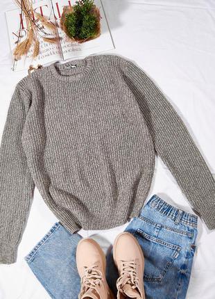 Женский свитер вязанаый, объемный свитер бежевый, базовый свитер оверсайз