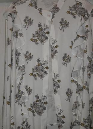 Блуза рубашка рюши цветочный принт