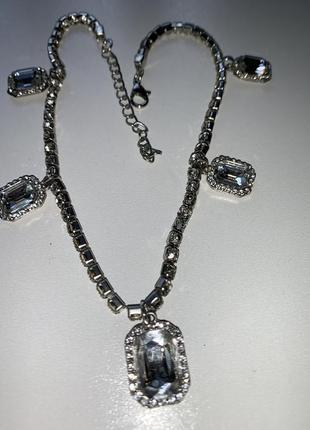 Новинка колье ожерелье серебро кристаллы