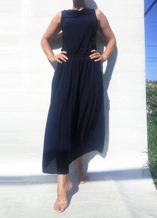 Длинное тёмное синее платье mari time с карманами трикотажное