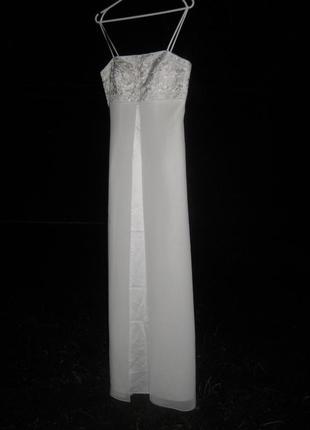 Платье yve london usa fassion белое длинное в пол свадебное выпускное вечернее нарядное