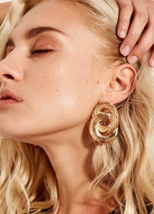 Cерьги серёжки винтаж винтажные ретро под золото двойные круглые объёмные новые