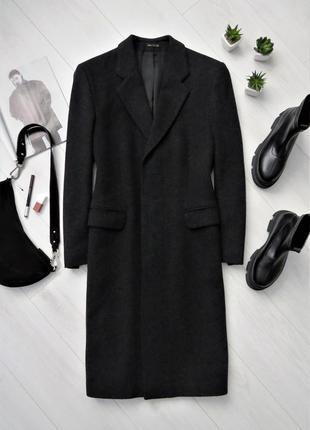 Шерстяное теплое пальто миди