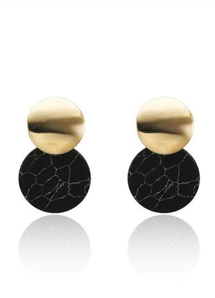 Серьги серёжки оригинальные черный мрамор новые