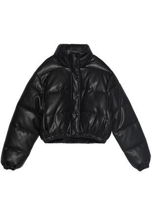 Стеганая куртка/пуффер из искусственной кожи zara